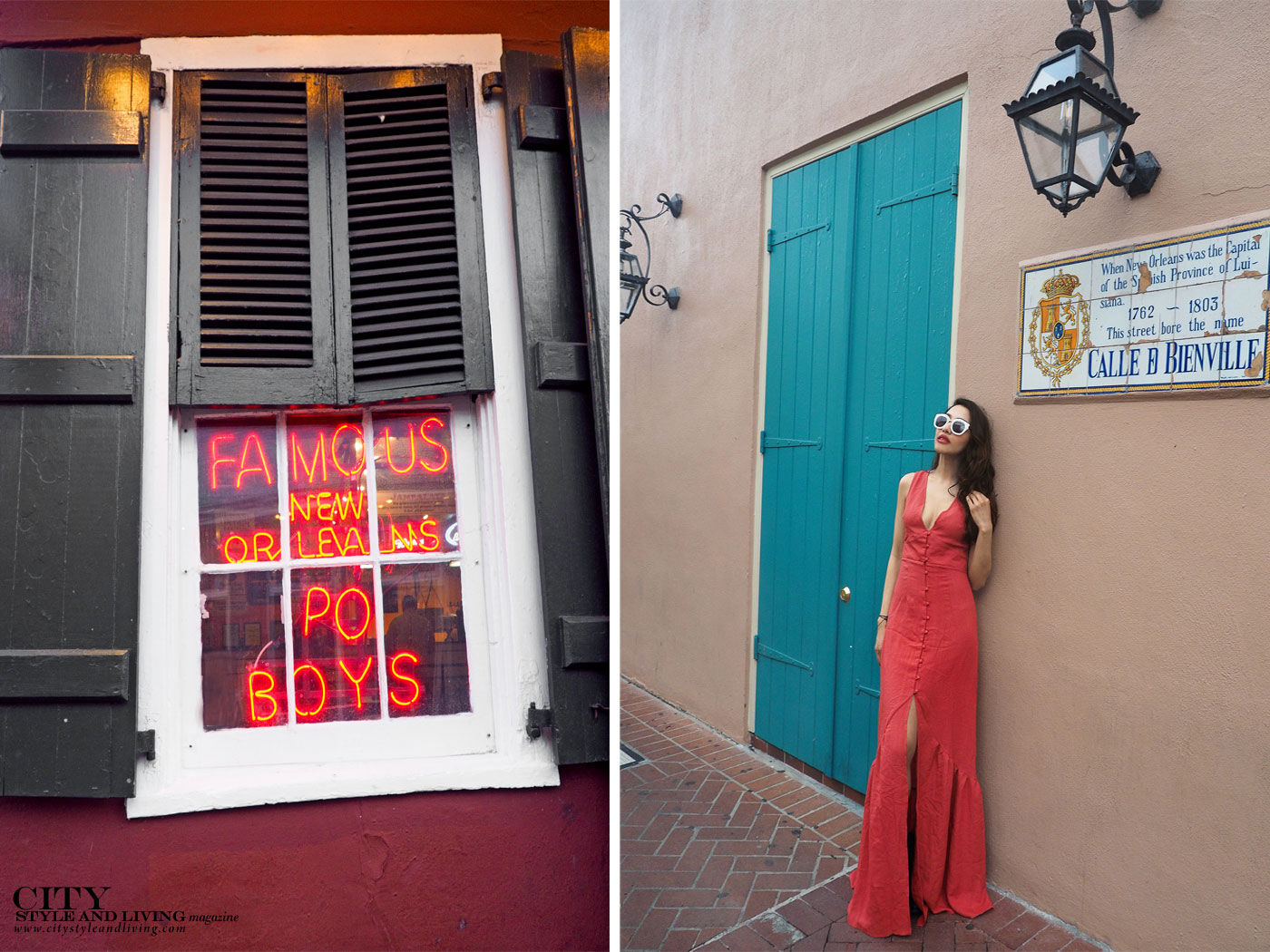 City style and living magazine The Editors Notebook style fashion blogger Shivana Maharaj New Orleans French Quarter Orange Dress po boys sign