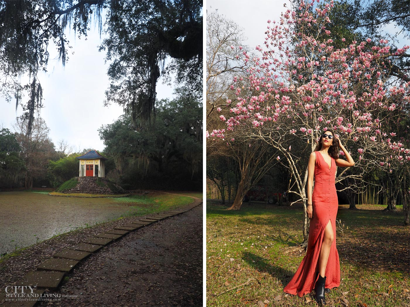 City style and living magazine The Editors Notebook style fashion blogger Shivana Maharaj New Orleans French Quarter Orange Dress Jungle Gardens Avery Island