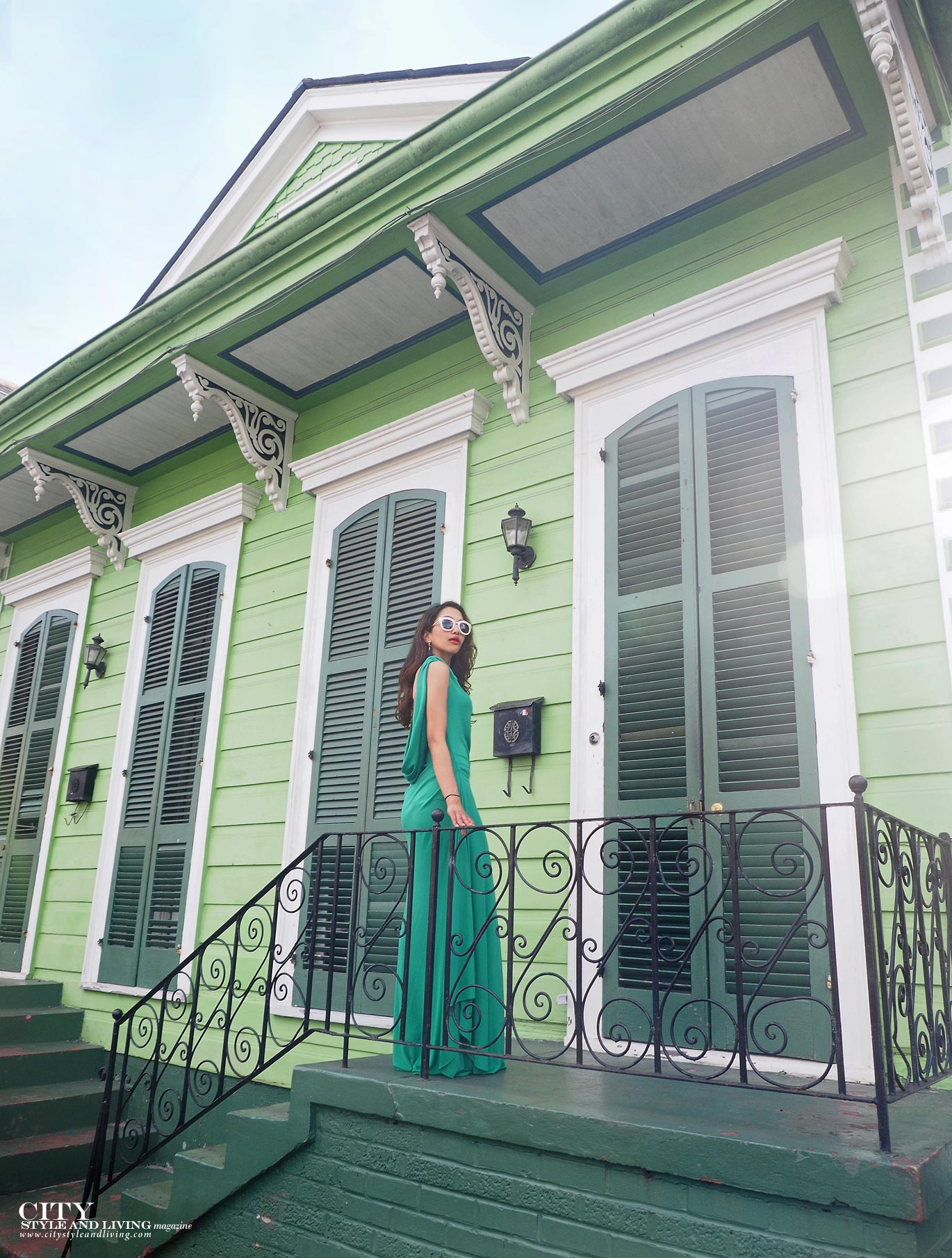 City style and living magazine The Editors Notebook style fashion blogger Shivana Maharaj French Quarter New Orleans Soniat House Balcony wearing BCBG Max Azria green maxi dress st. ann street