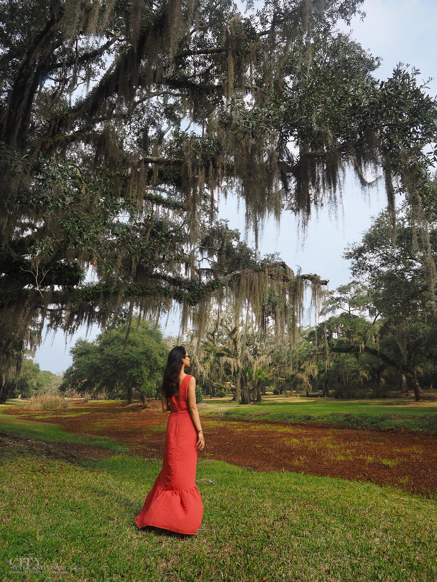 City style and living magazine The Editors Notebook style fashion blogger Shivana Maharaj New Orleans French Quarter Orange Dress Jungle Gardens Avery Island Swamp