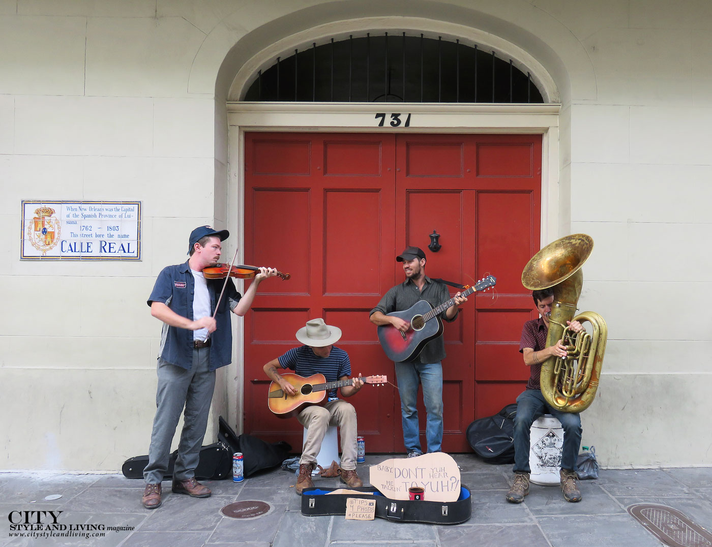 City style and living magazine The Editors Notebook style fashion blogger Shivana Maharaj New Orleans Musicians in French QUarter
