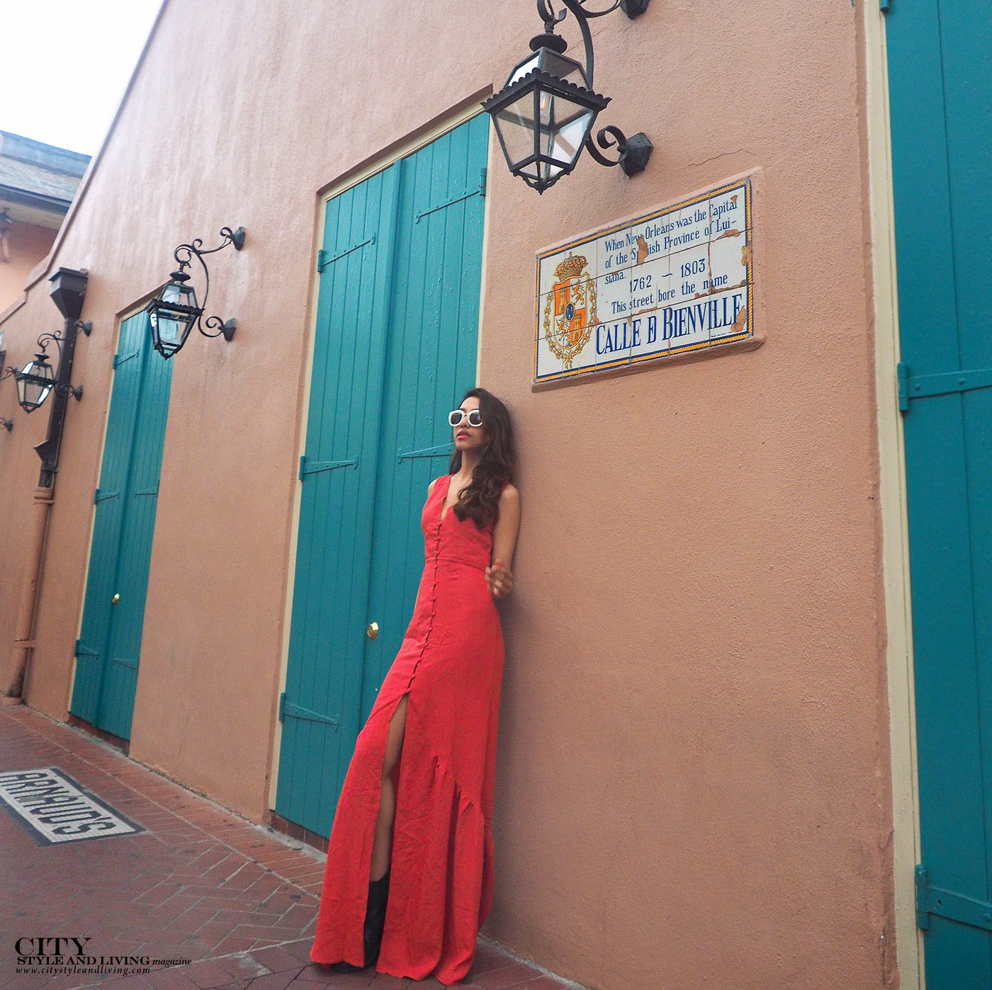 City style and living magazine The Editors Notebook style fashion blogger Shivana Maharaj New Orleans French Quarter Orange Dress closeup