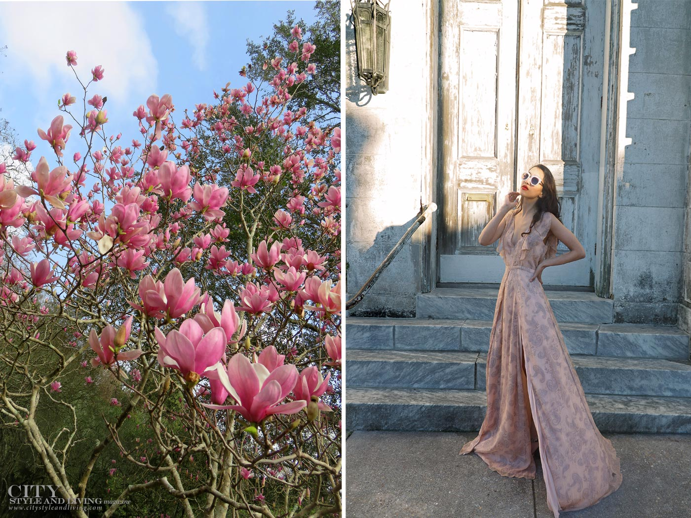 City style and living magazine The Editors Notebook style fashion blogger Shivana Maharaj new orleans jetset diaries marigny opera house romantic jetset diaries dress and magnolia blooms
