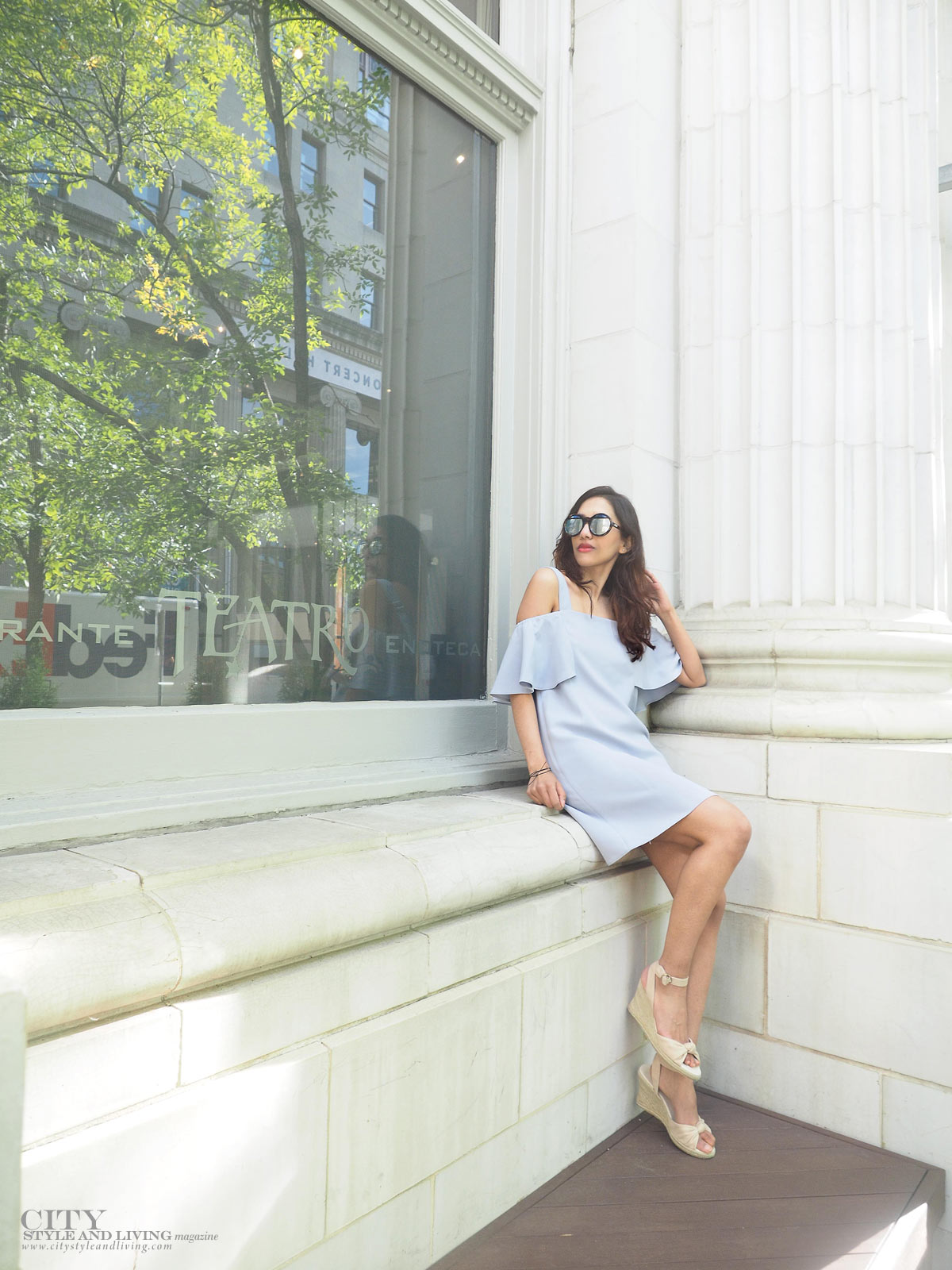 City STyle and Living The Editors Notebook style blogger Downtown Calgary colourful flowers blooming during summer wearing an off shoulder topshop dress and wedges at teatro