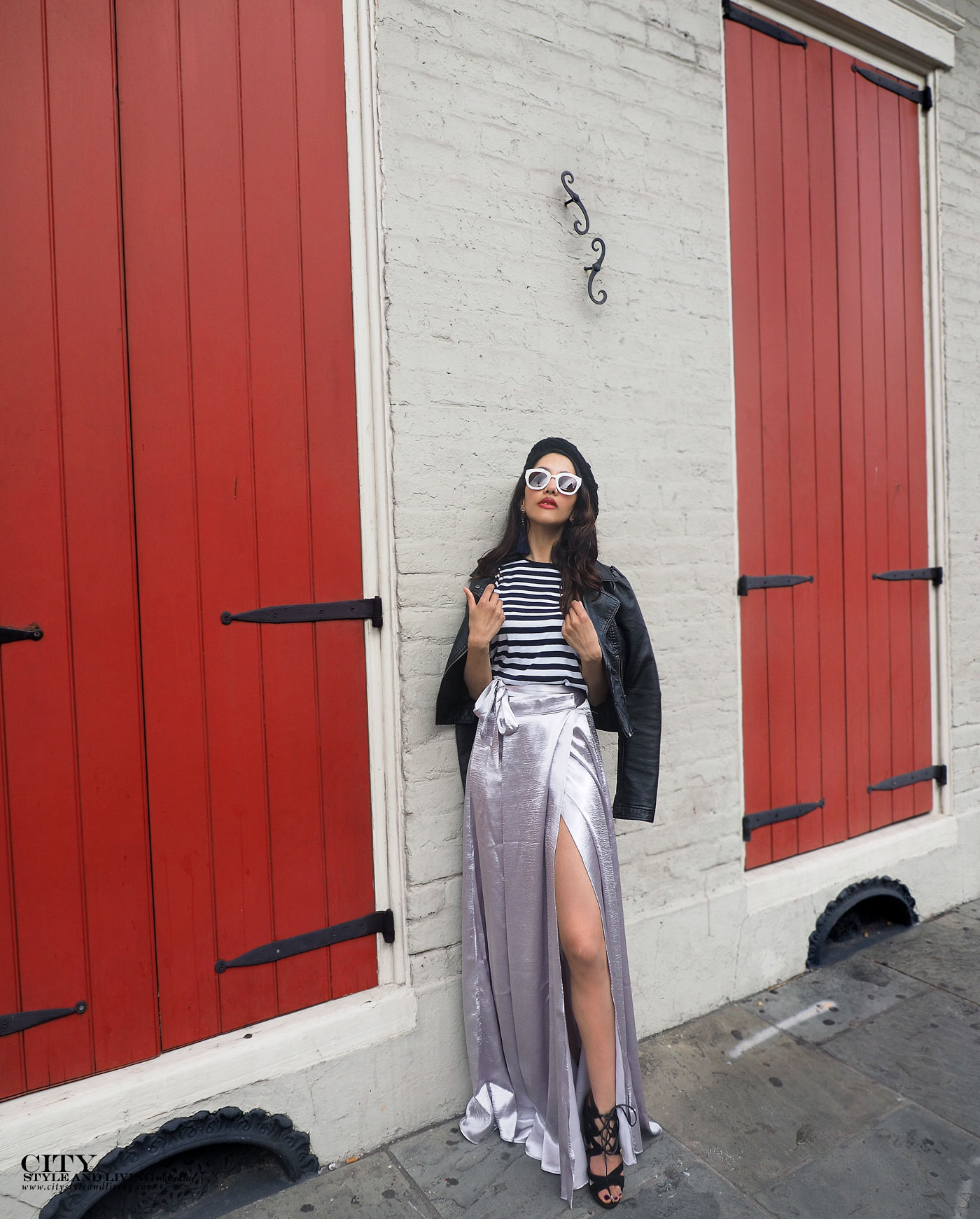 City style and living magazine The Editors Notebook style fashion blogger Shivana Maharaj new orleans french quarter wearing silver skirt french style