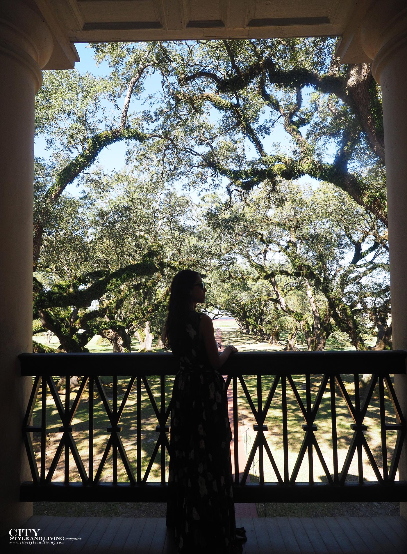 City style and living magazine The Editors Notebook style fashion blogger Shivana Maharaj Oak Alley Plantation maxi dress balcony