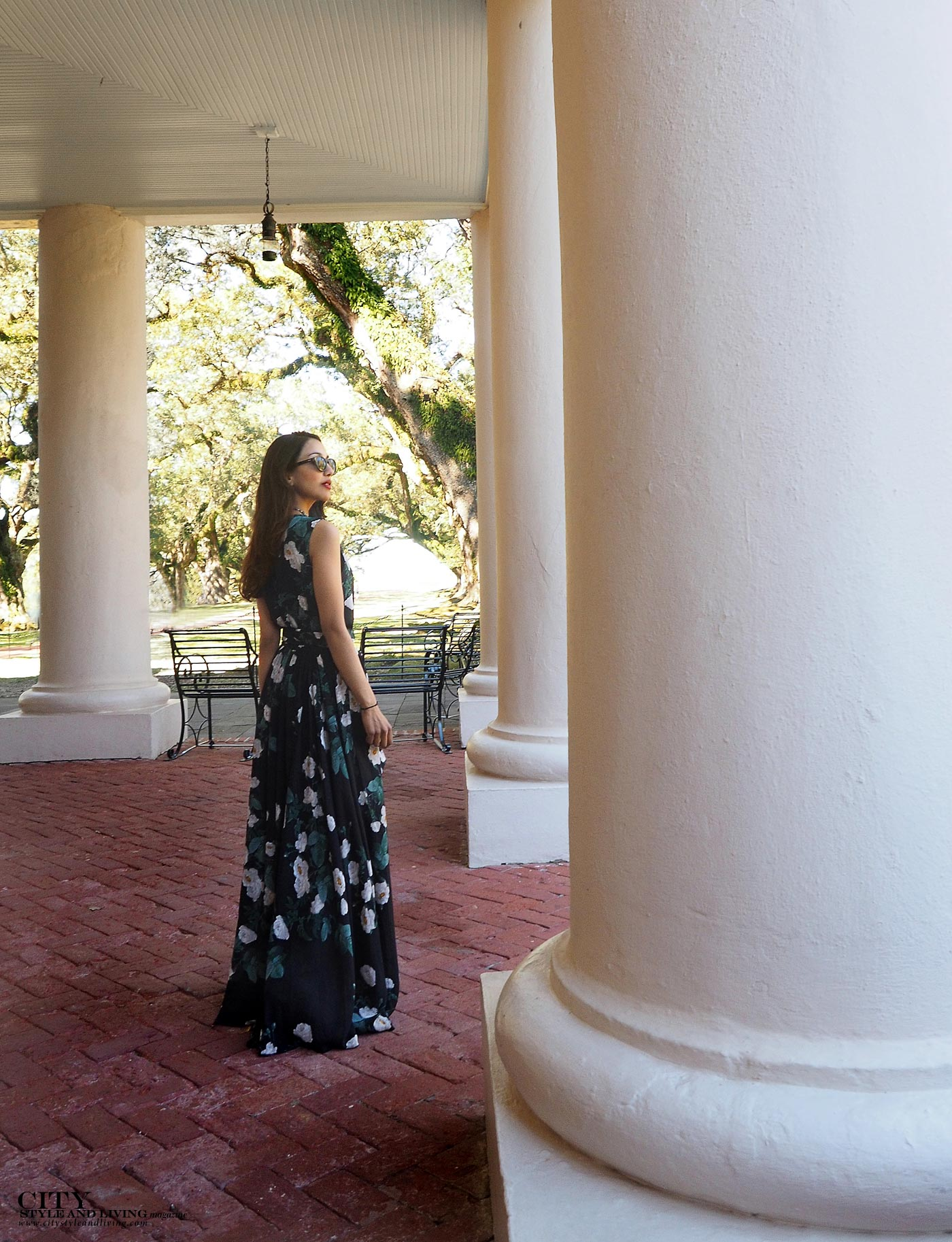 City style and living magazine The Editors Notebook style fashion blogger Shivana Maharaj Oak Alley Plantation maxi dress columns