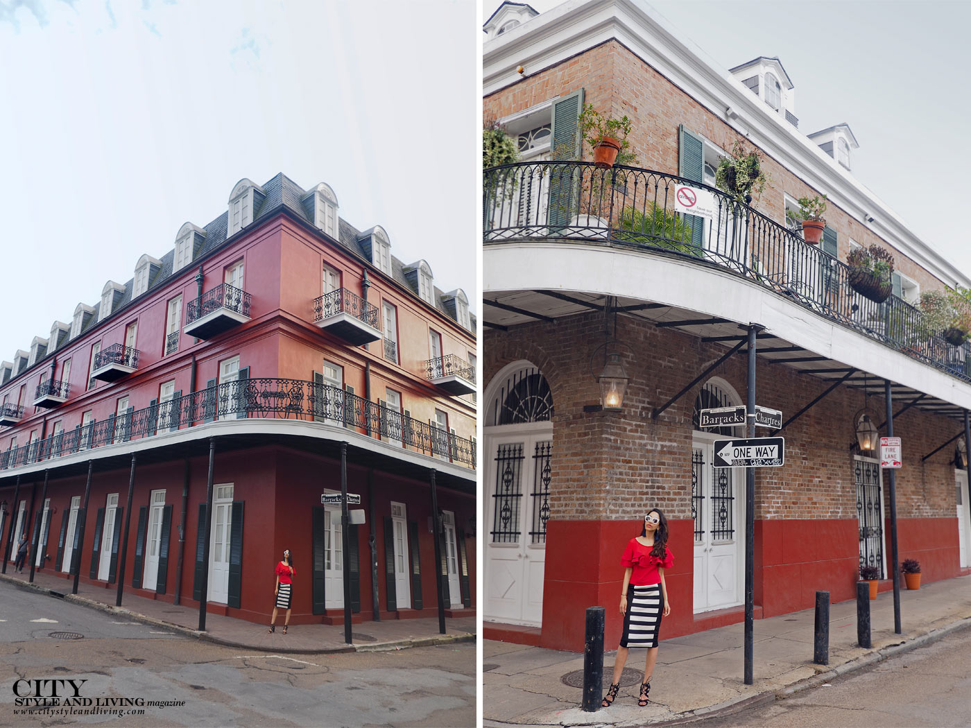 City style and living magazine The Editors Notebook style fashion blogger Shivana Maharaj french quarter new orleans ruffle top and striped skirt street corner architecture collage