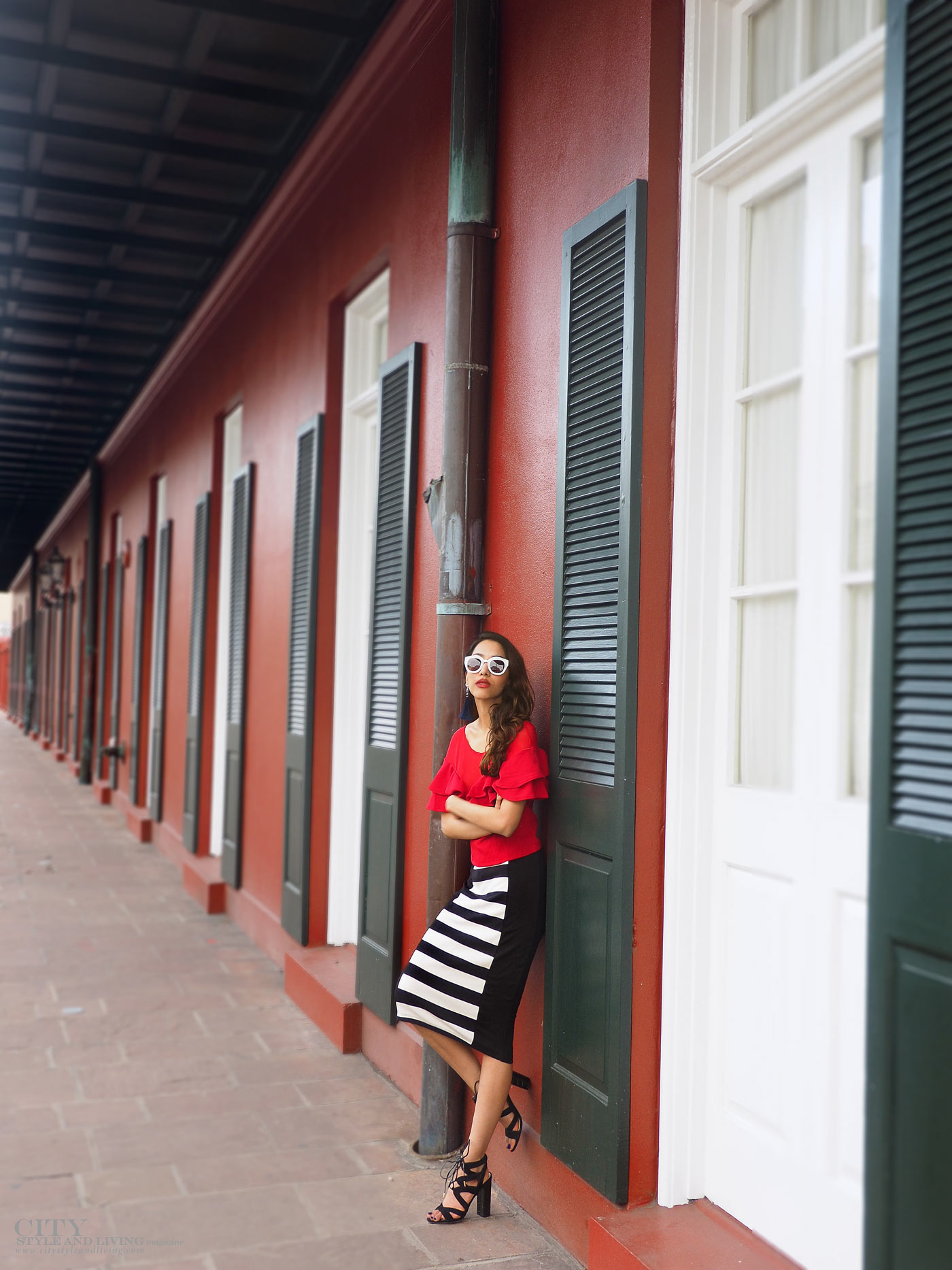 City style and living magazine The Editors Notebook style fashion blogger Shivana Maharaj french quarter new orleans ruffle top and striped skirt