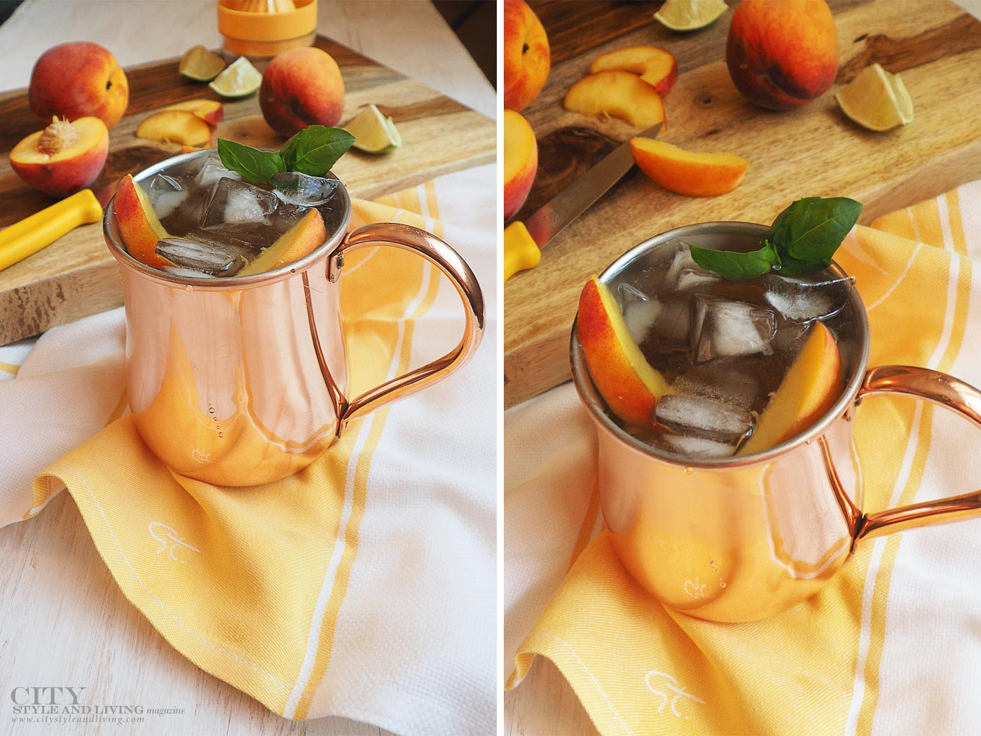 City Style and Living Magazine peach moscow mule final copper mug