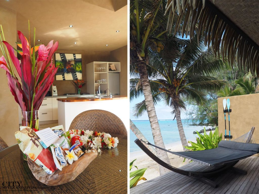City Style and Living Magazine rarotonga cook islands luxury hotels rumours luxury villas and spa villa kitchen with welcome basket and hammock on private deck