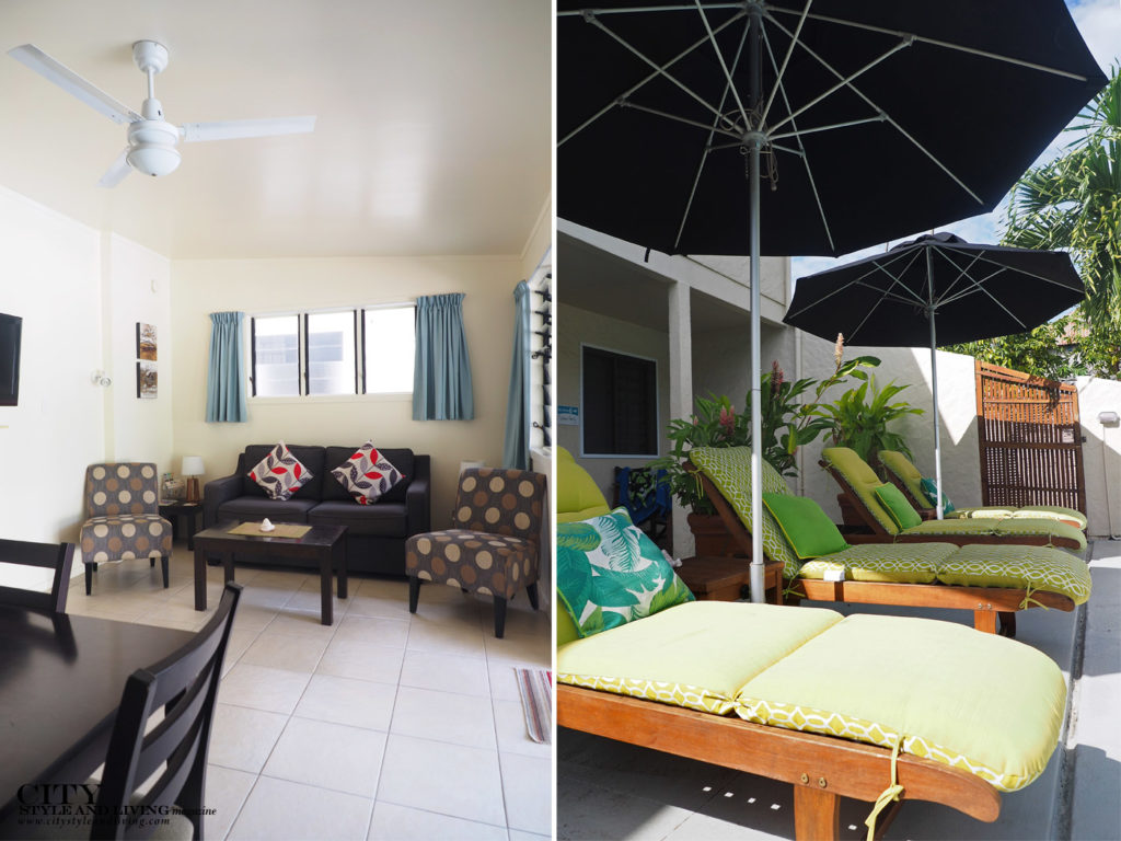City Style and Living Magazine Travel Cook Islands Coral Sands Apartments living room and deck chairs