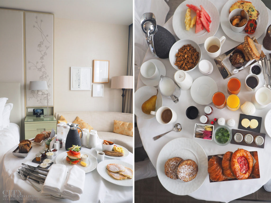 City Style and Living Magazine Travel Hotels The Four Seasons Toronto breakfast in room dining spread