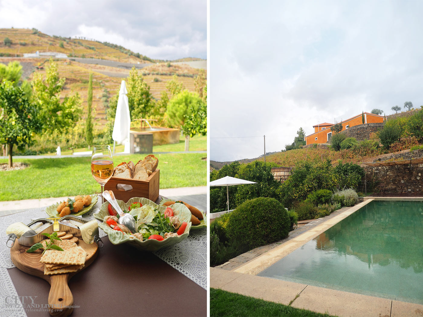 City Style and Living Magazine Travel Portugal Luxury Hotels Quinta Do Vallado lunch on the patio and pool