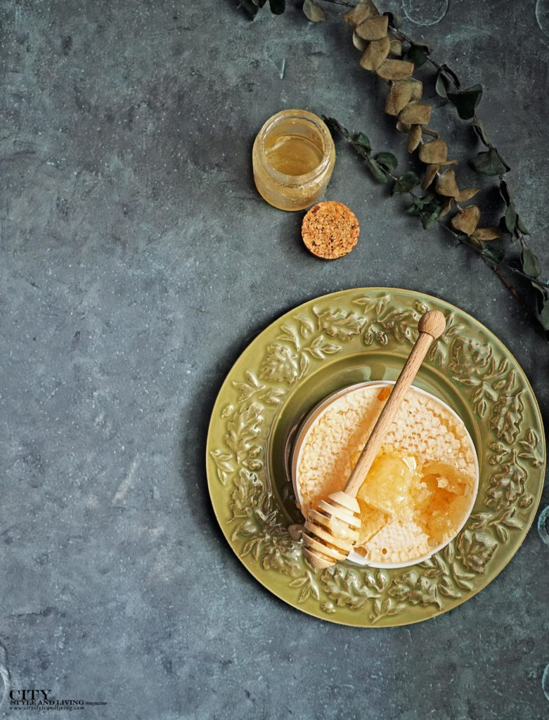 City Style and Living Magazine Gourmet Food Honey on plate and honeycomb