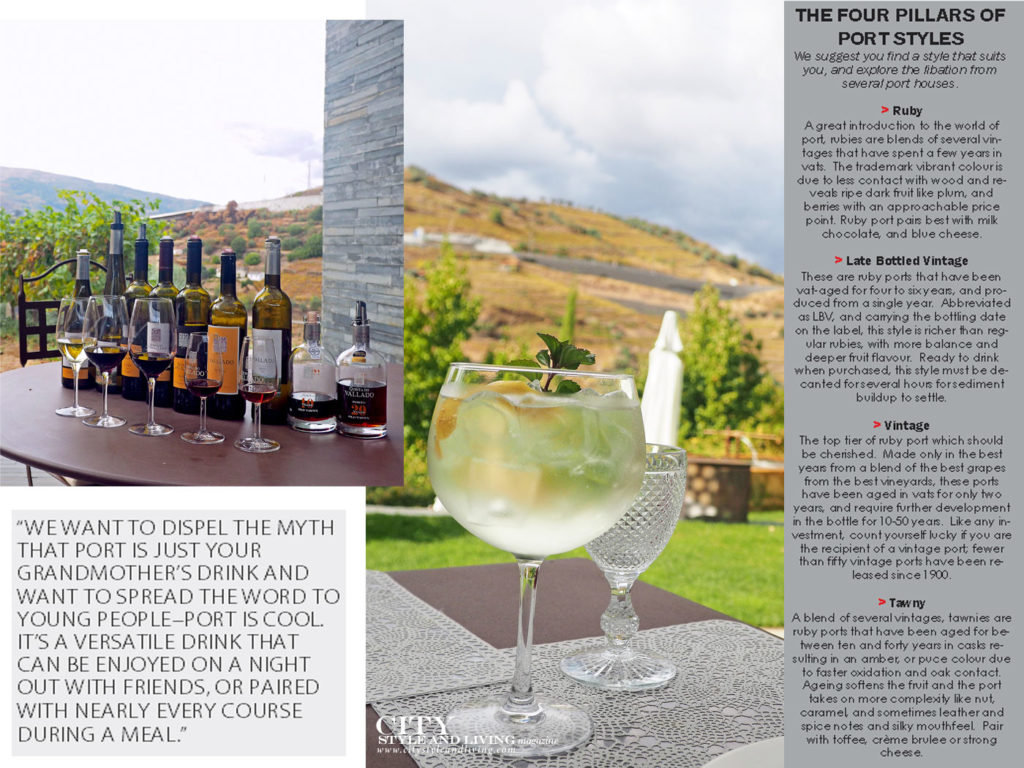 City Style and Living Magazine Travel Portugal Wine and Spirits Port and tonic and ports on display in vineyards