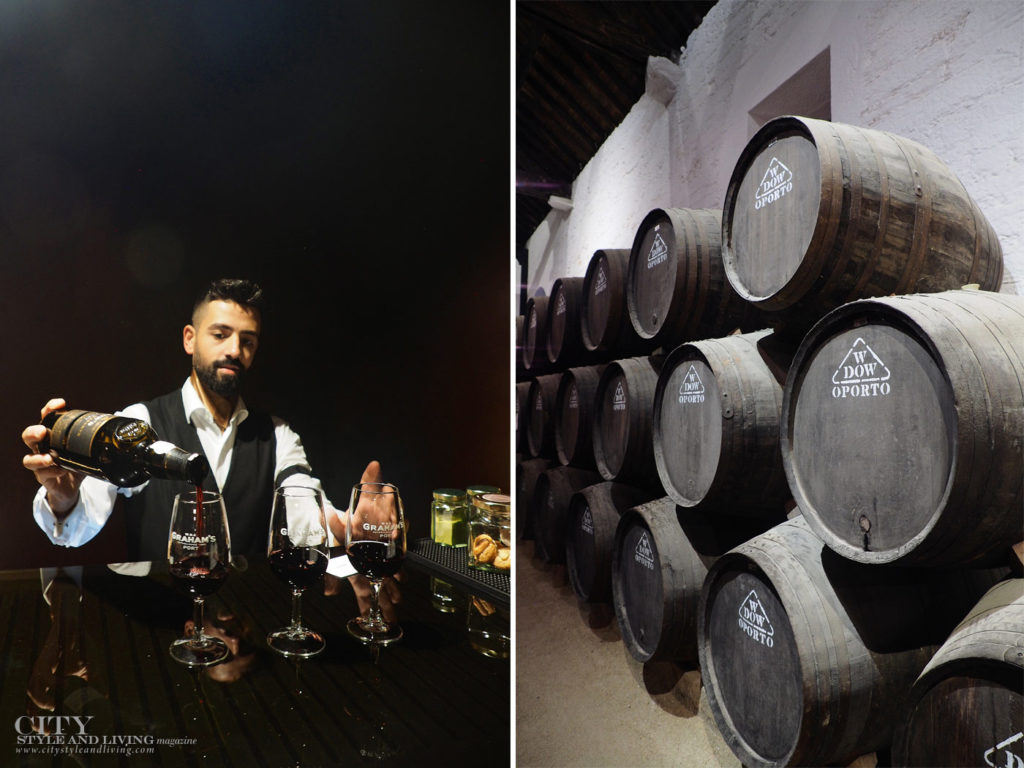 City Style and Living Magazine Travel Portugal Wine and Spirits Hotel Teatro pouring port and Dow's port oak barrels