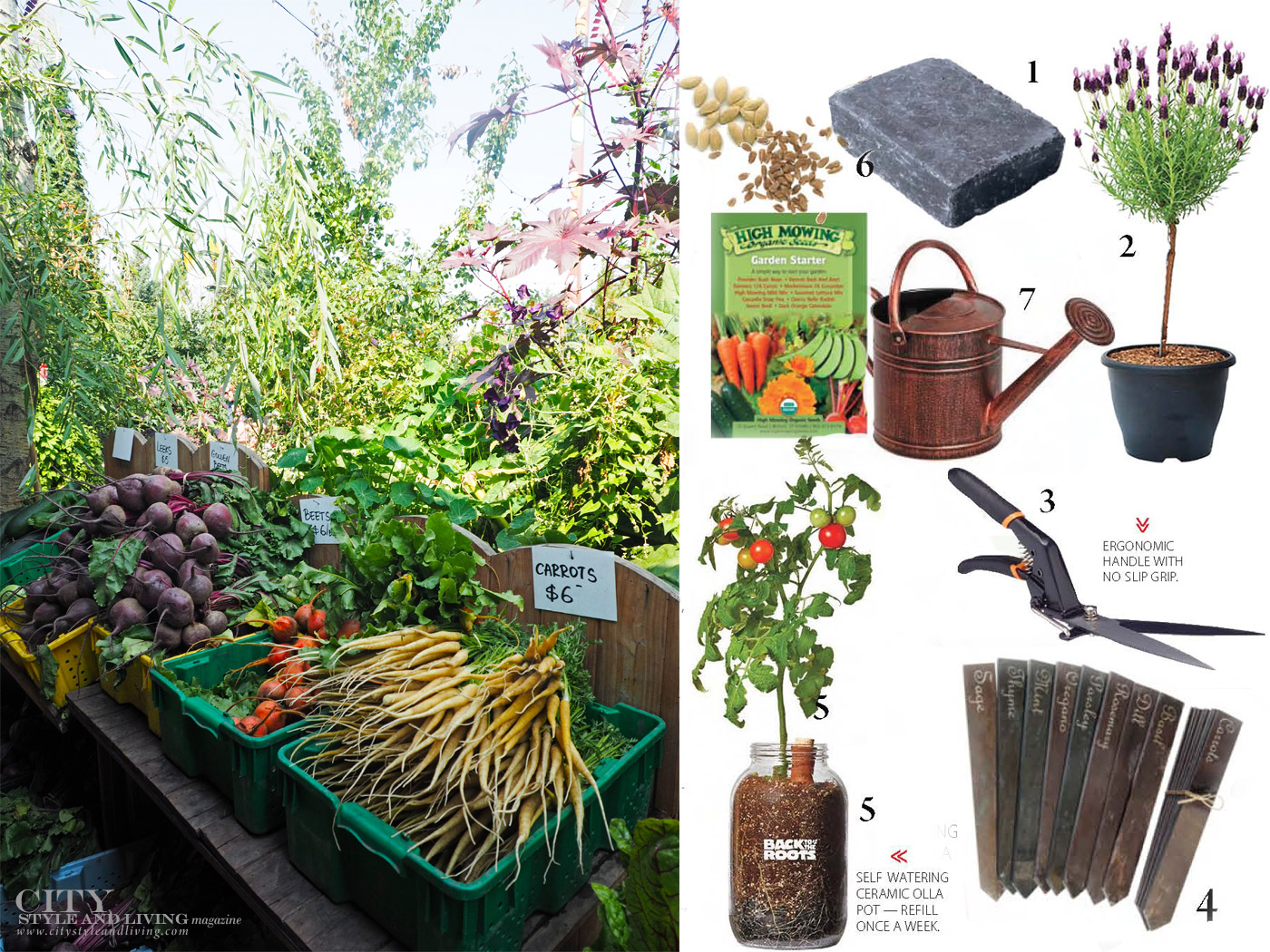 City Style and Living Magazine Summer Garden Market and Garden tools