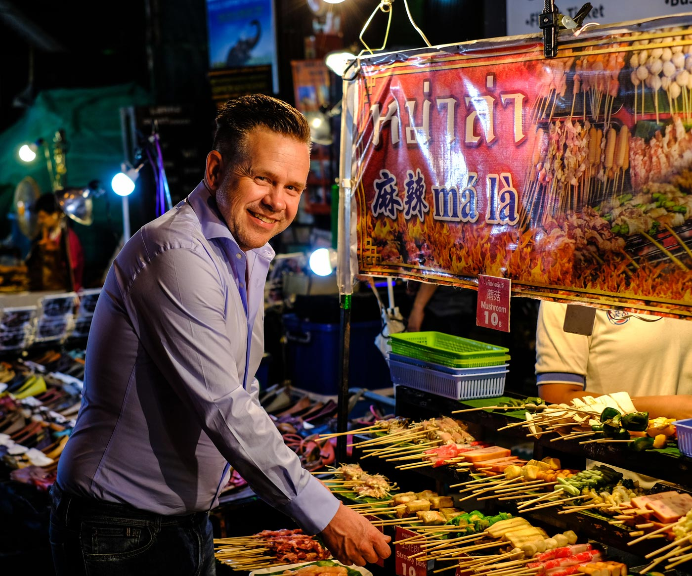 City Style and Living Magazine Edible Northern Thailand: The Roger Van Damme Chronicles Sven Van Coillie van Damme at a night market