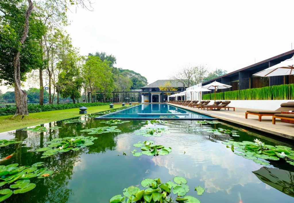 City Style and Living Magazine Edible Northern Thailand: The Roger Van Damme Chronicles Sven Van Coillie a circular pool at Anantara Golden Triangle Elephant Camp & Resort