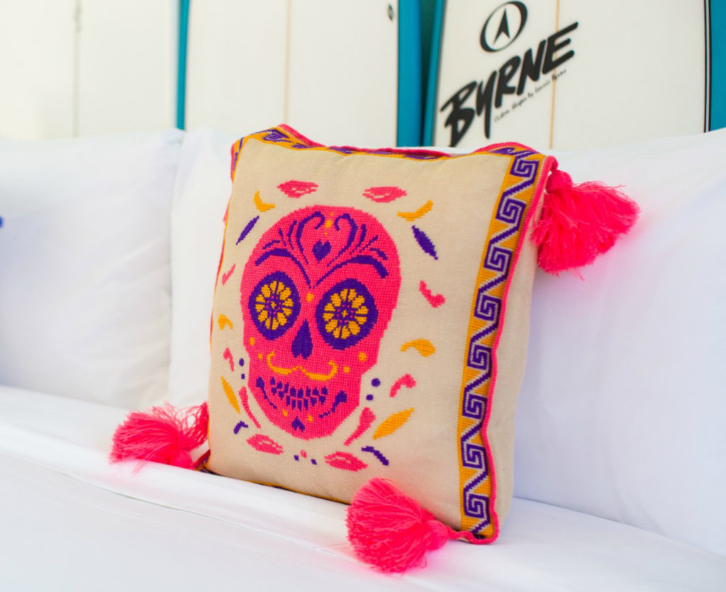City Style and Living Magazine Travel Hotels W Punta de Mita Mexico Huichol Art pillows in room