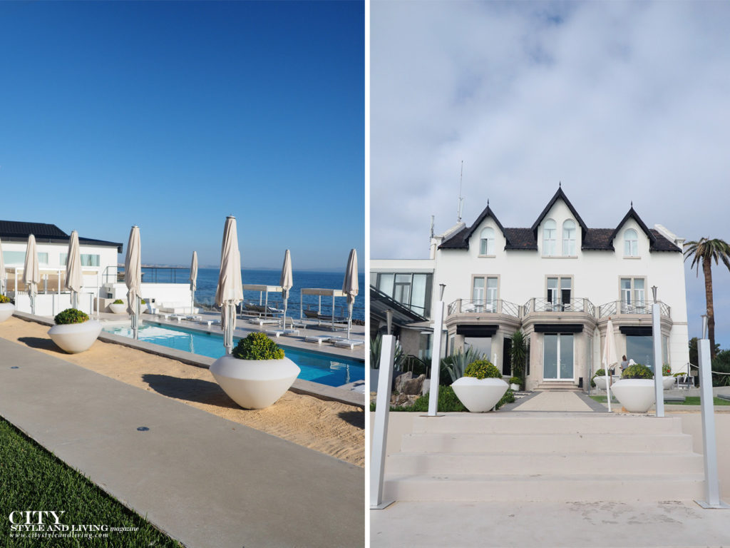 City Style and Living Magazine Travel Hotel Farol Cascais Portugal view of the pool and exterior of historic hotel