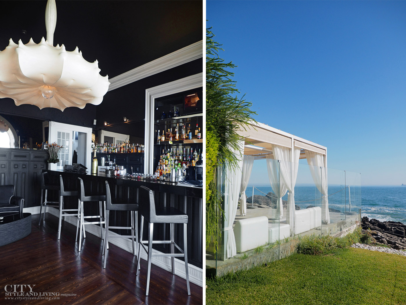 City Style and Living Magazine Travel Hotel Farol Cascais Portugal chairs at bar and restaurant overlooking the sea