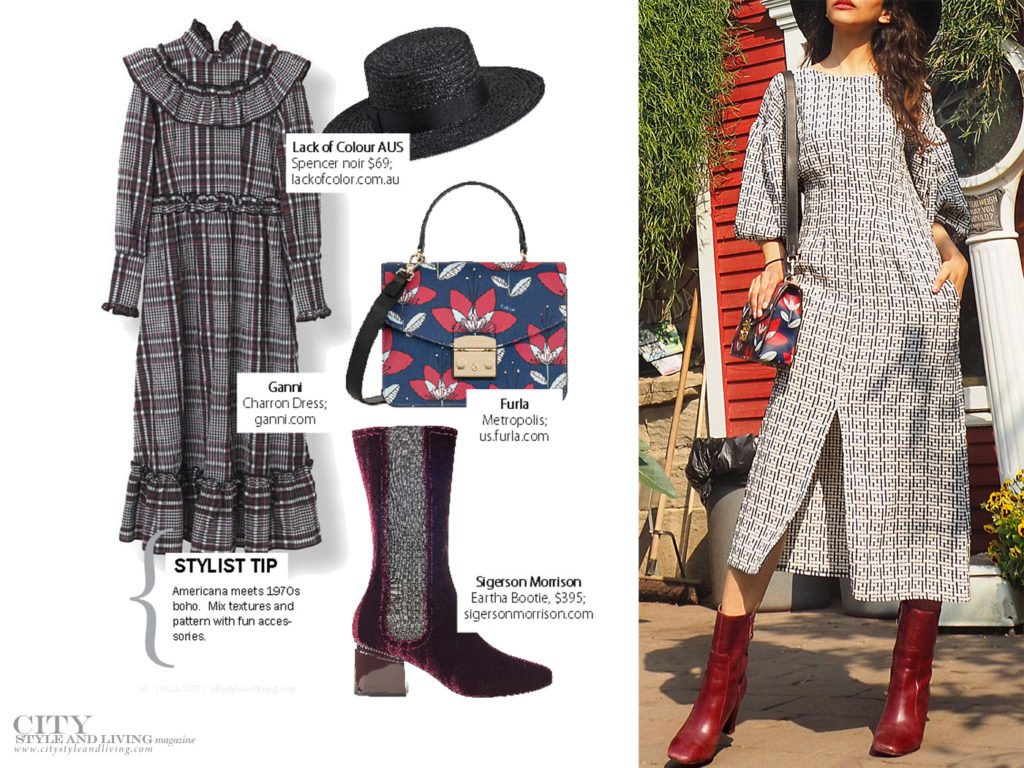 City Style and Living Magazine Checkered Dress Velvet shoes fall fashion