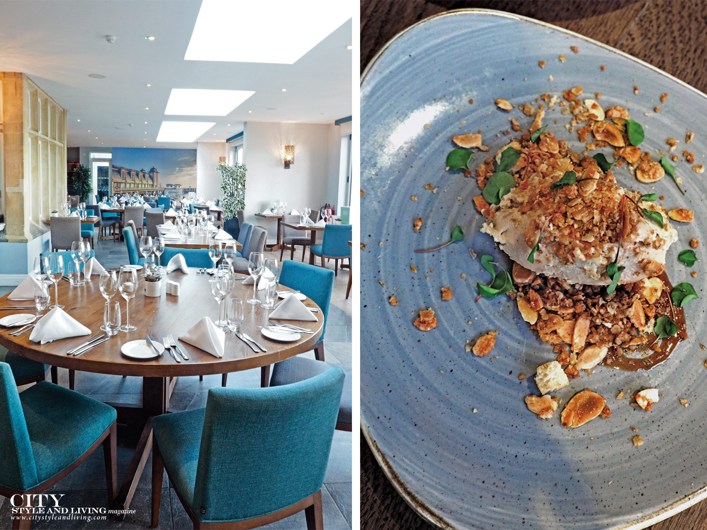 City Style and Living Magazine Winter 2018 Travel Wales Luxury Hotel Holm House Penarth dining room and chicken parfait