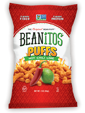 Summer snacking Beanitos Puffs Chili Lime.