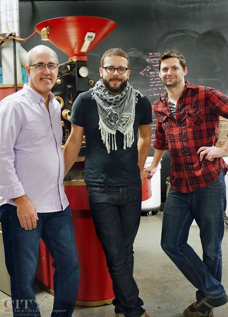 Chris Smith, Aaron Rauch and roaster Nick Tabor of Beansmith coffee roasters.