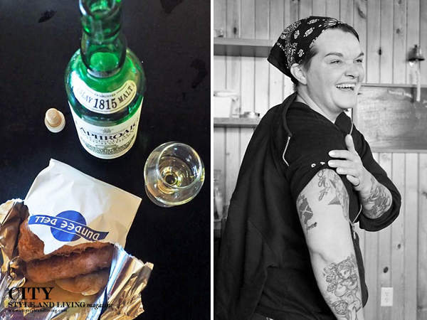 Dundee Dell's famous fish and chips and Laphroaig single malt, Executive Chef Mary Kelley.