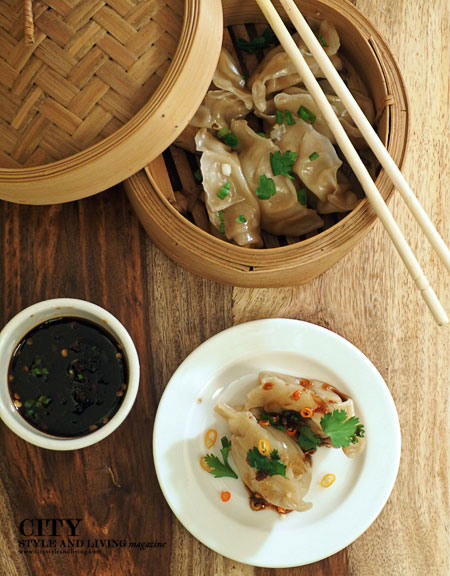 Shrimp Dumplings in Bamboo Steamer