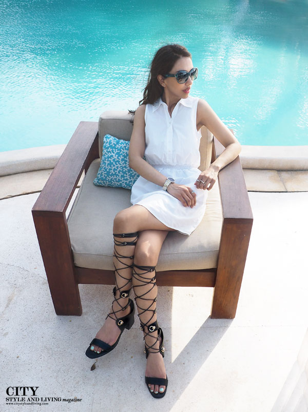 City style and living magazine style fashion blogger cancun viceroy Riviera maya white Joie dress pool