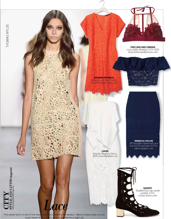 City Style and Living Magazine Fashion Trends spring 2016 lace