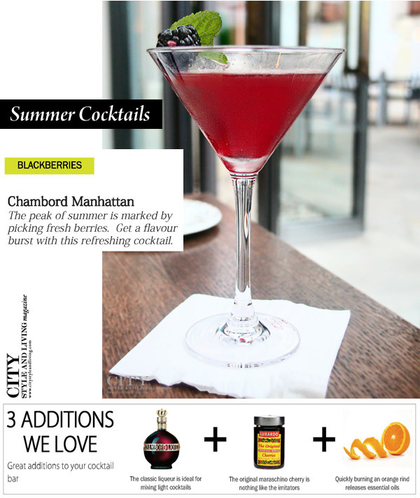 city style and living Fruit Cocktail for summer Chambord manhattan