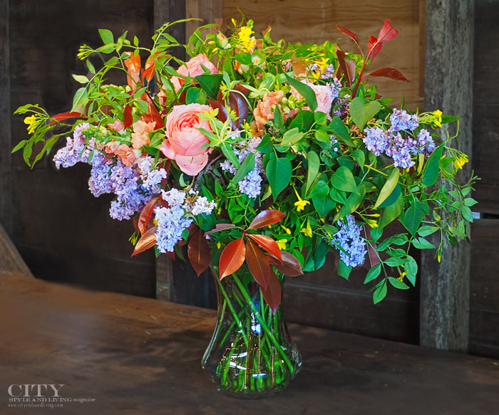 Rose and greenery floral arrangement city style and living magazine