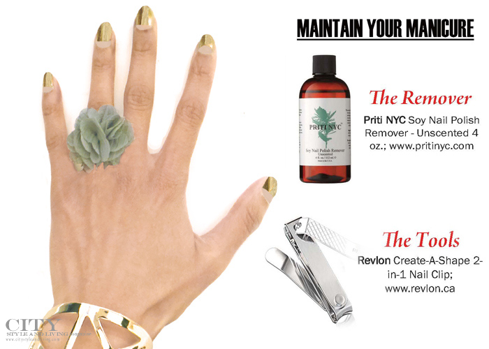 City Style and Living Magazine reverse manicure metallic