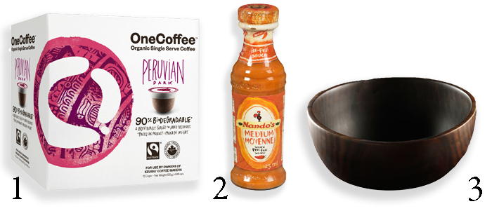 City Style and Living Magazine products for the kitchen, one coffee, nandos, gaiam