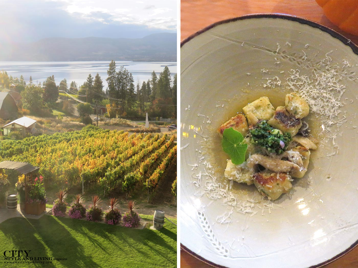 Summerhill Pyramid Winery gnocchi and sunset at the vineyard in City Style and Living Magazine.