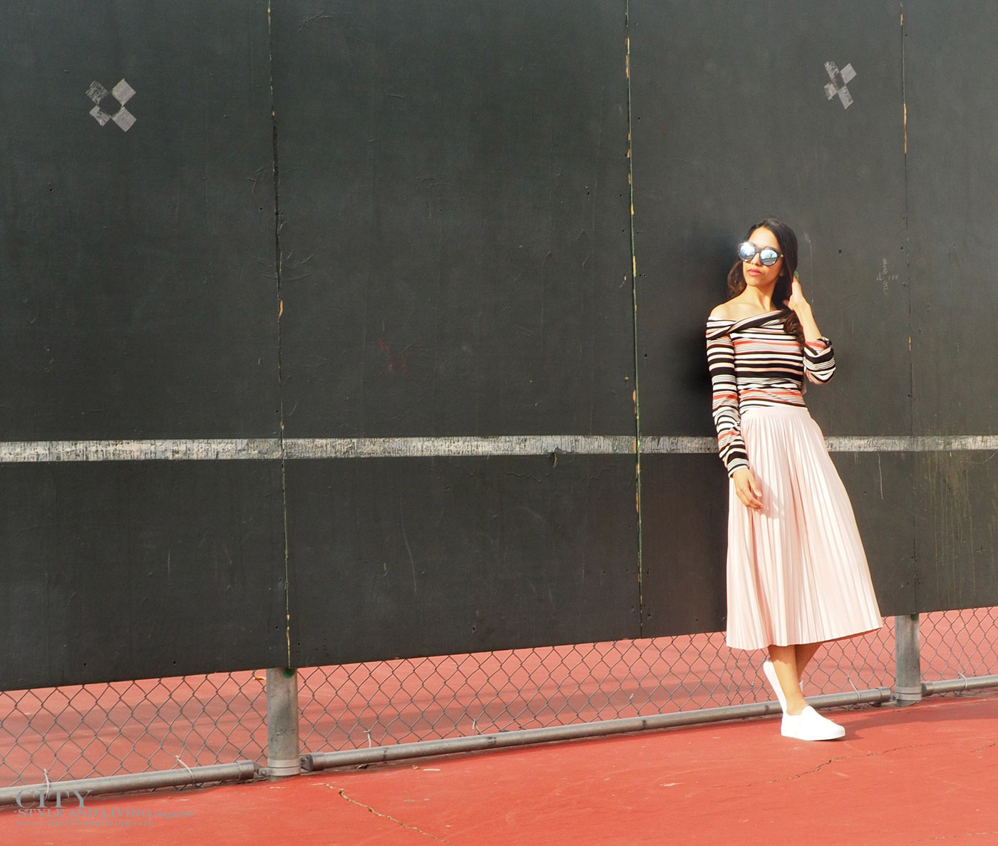 City STyle and Living The Editors Notebook style blogger tennis court topshop metallic skirt, off shoulder free people top, le specs sunglasses and white sneakers