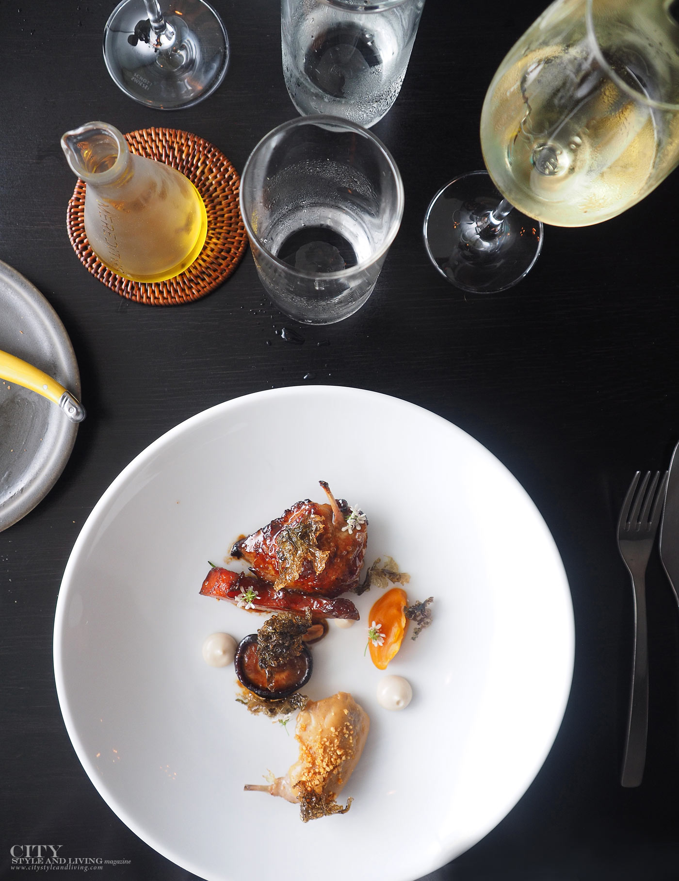 City Style and Living Magazine merediths degustation menu roasted quail with roasted persimmon