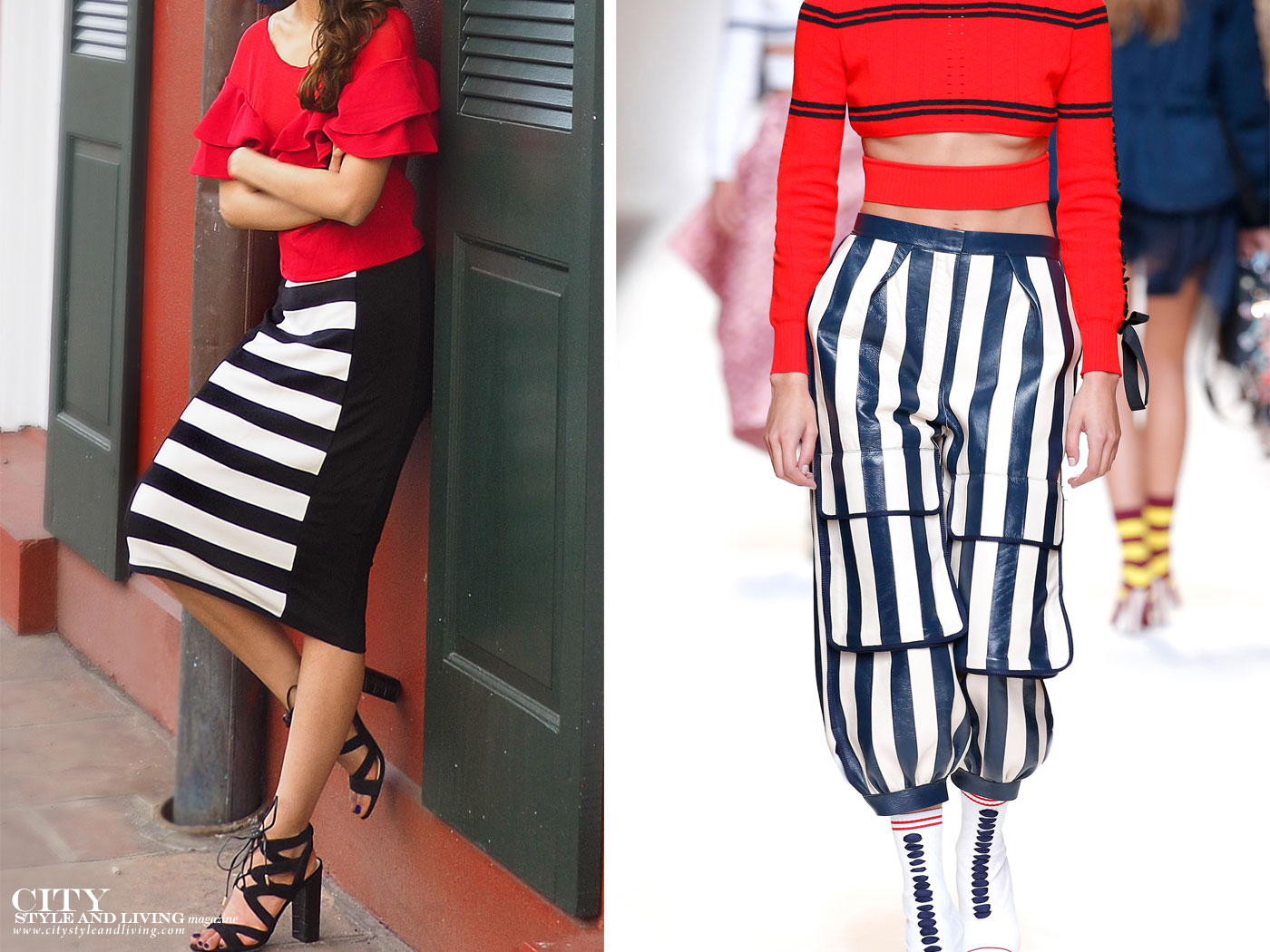 City Style and Living Magazine fashion trends spring 2017 stripes and red
