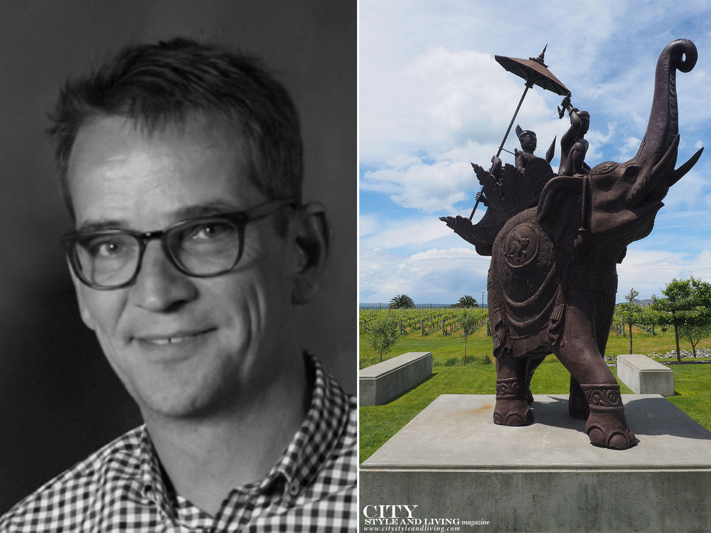 City Style and Living Magazine Elephant Hill Hawkes Bay New Zealand Andreas Weiss, vineyards and elephant sculpture