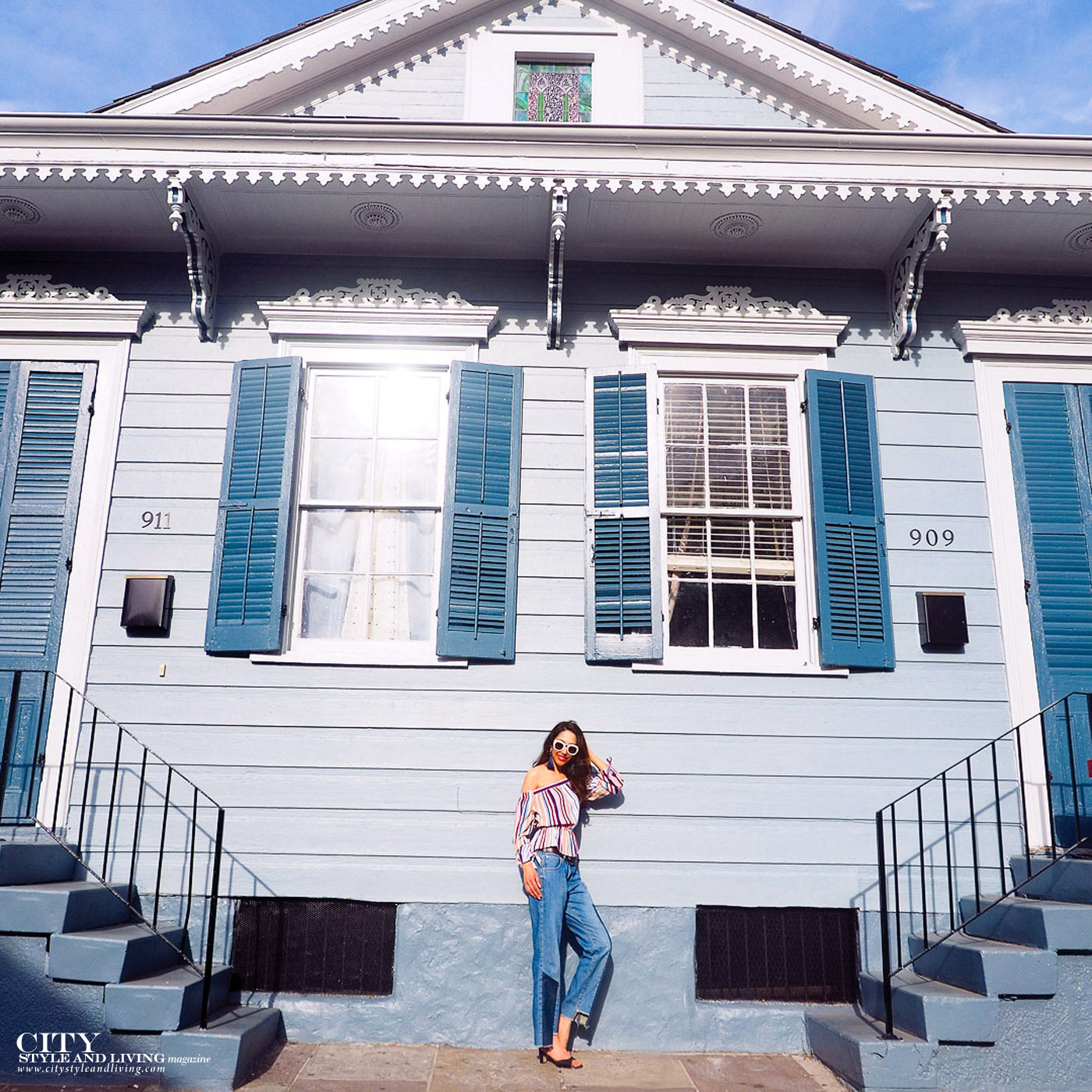 City style and living magazine The Editors Notebook style fashion blogger Shivana Maharaj New Orleans French Quarter Off shoulder top and ankle biter jeans