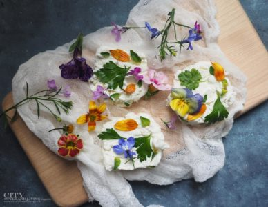 City Style and Living Magazine Goats Cheese close up with flowers for summer