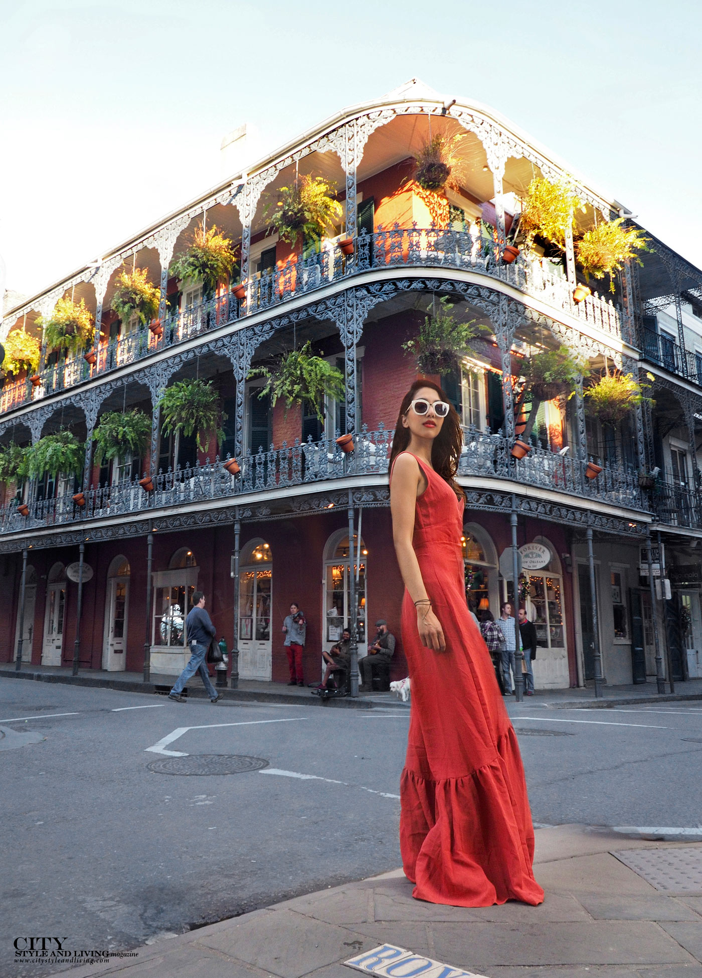 City style and living magazine The Editors Notebook style fashion blogger Shivana Maharaj New Orleans French Quarter Orange Dress Bourbon Street Architecture