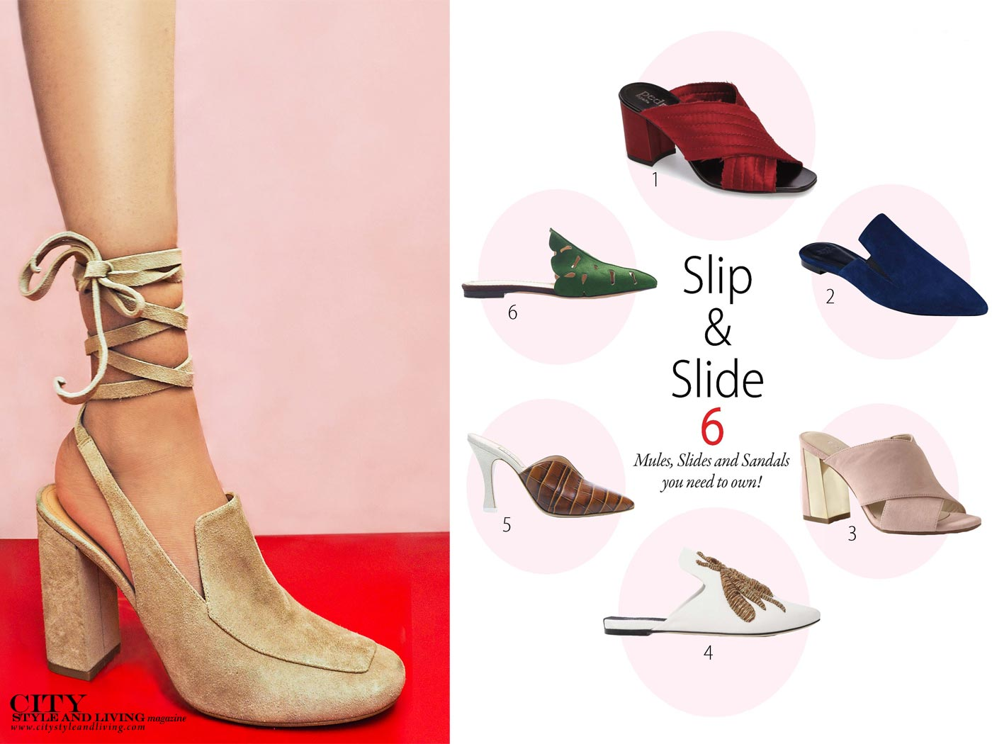 City Style and Living Magazine Mules for summer 2017