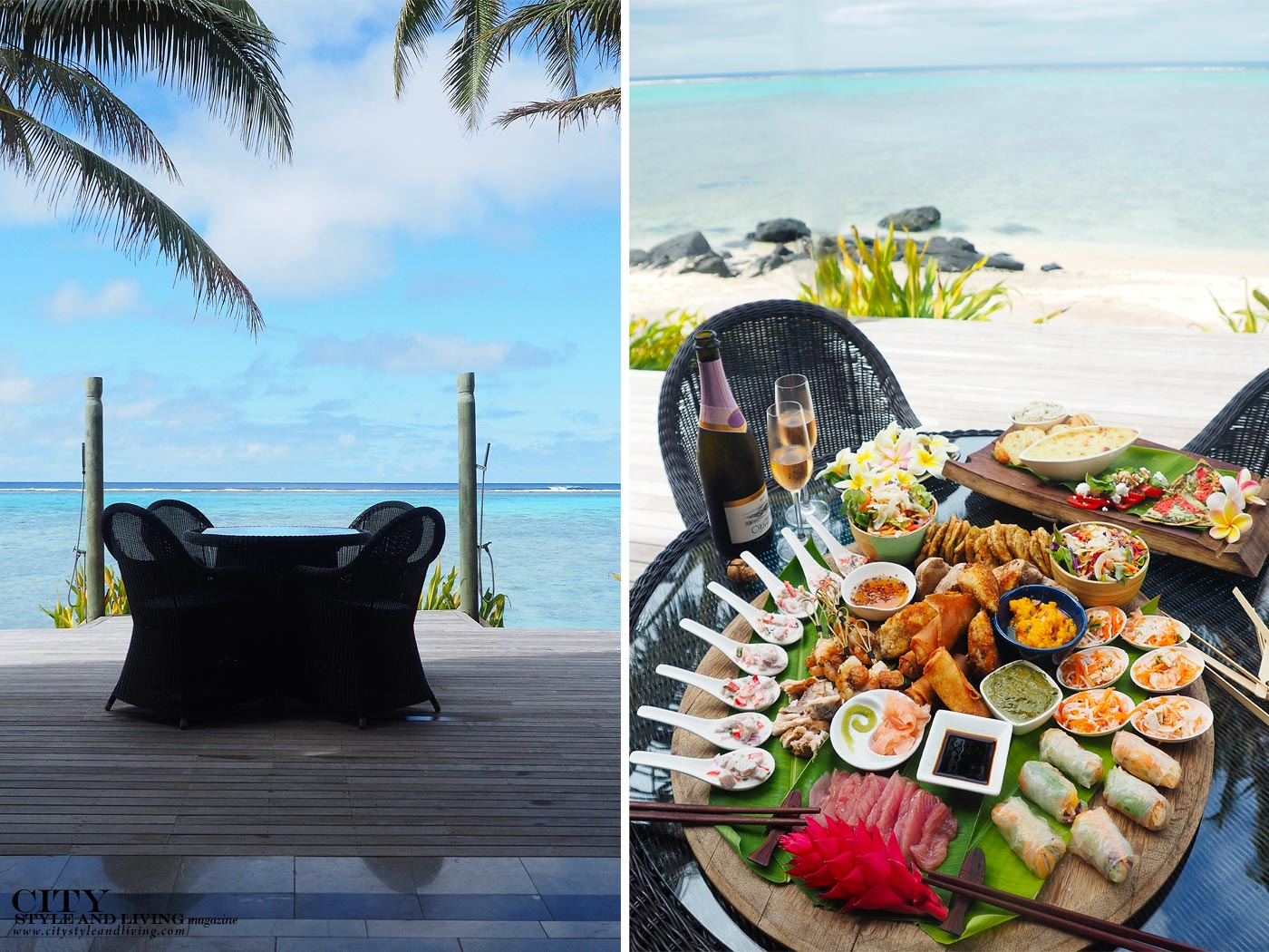 City Style and Living Magazine rarotonga cook islands luxury hotels rumours luxury villas and spa deck with dining table and seafood platter