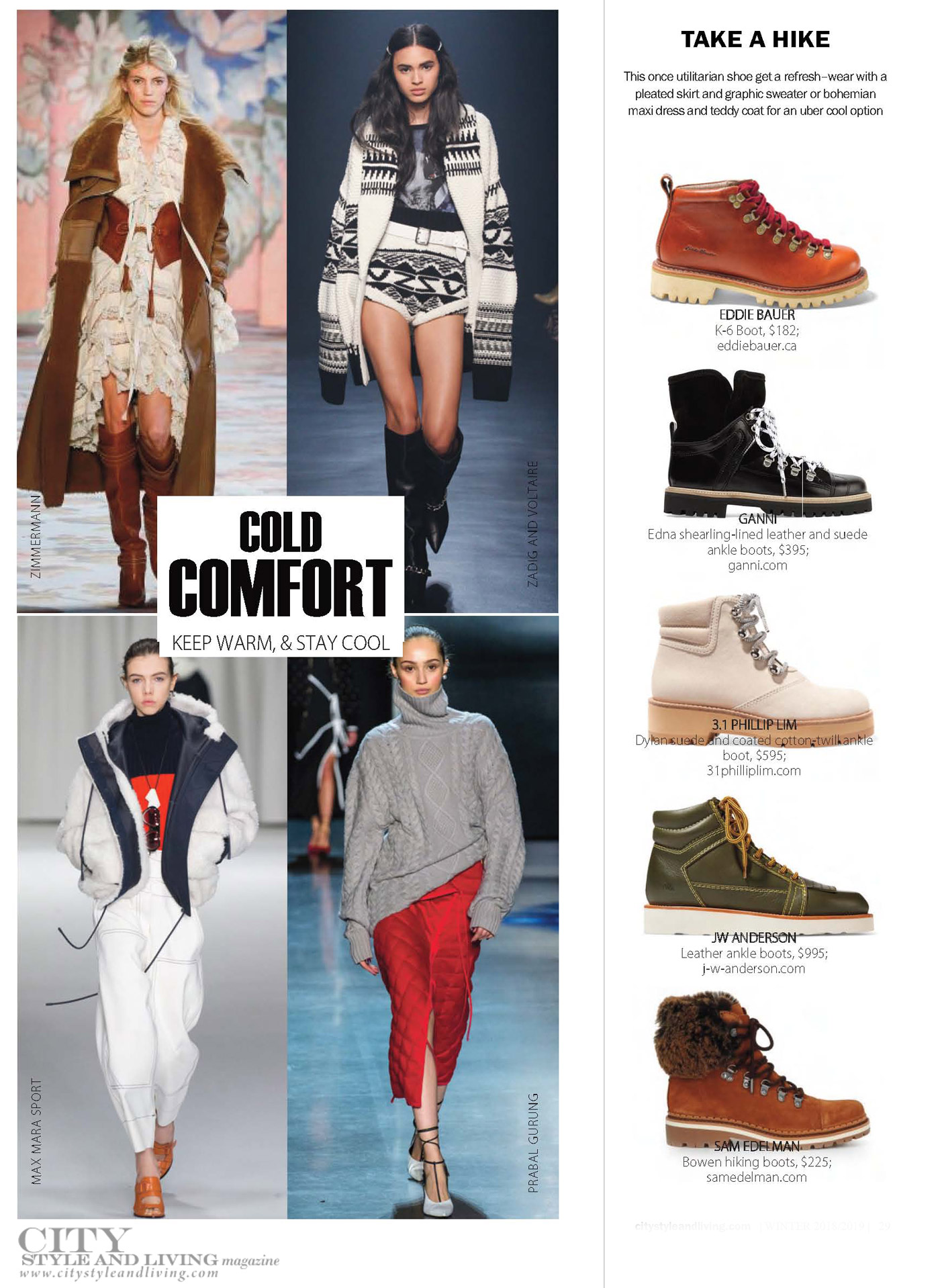 City Style and Living Magazine Winter 2018  cold comfort fashion